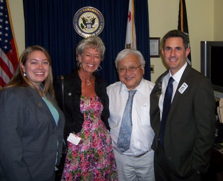 NBCTs Ashley Alcala, Leslee Milch, and David B. Cohen, with Congressman Mike Honda (CA-15), 7/28/11.