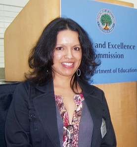 Martha Infante preparing to speak to the USDOE Equity and Excellence Commission, ( San Jose, CA; 4/21/11)