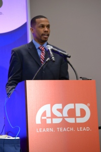 Principal Torian White participating in the ASCD Forum, 3/17/13 (photo by the author)